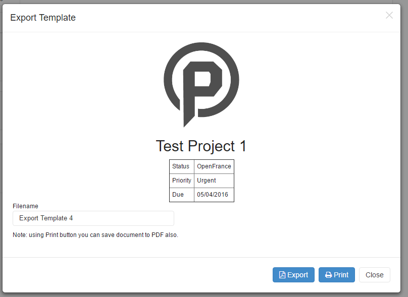 Templates for Print or Export - Rukovoditel - Open Source Project Management Software