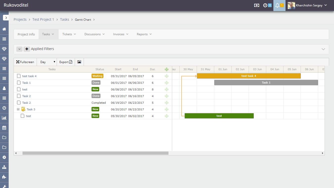 Manage Data In The Gantt Chart Rukovoditel Open Source Project Management