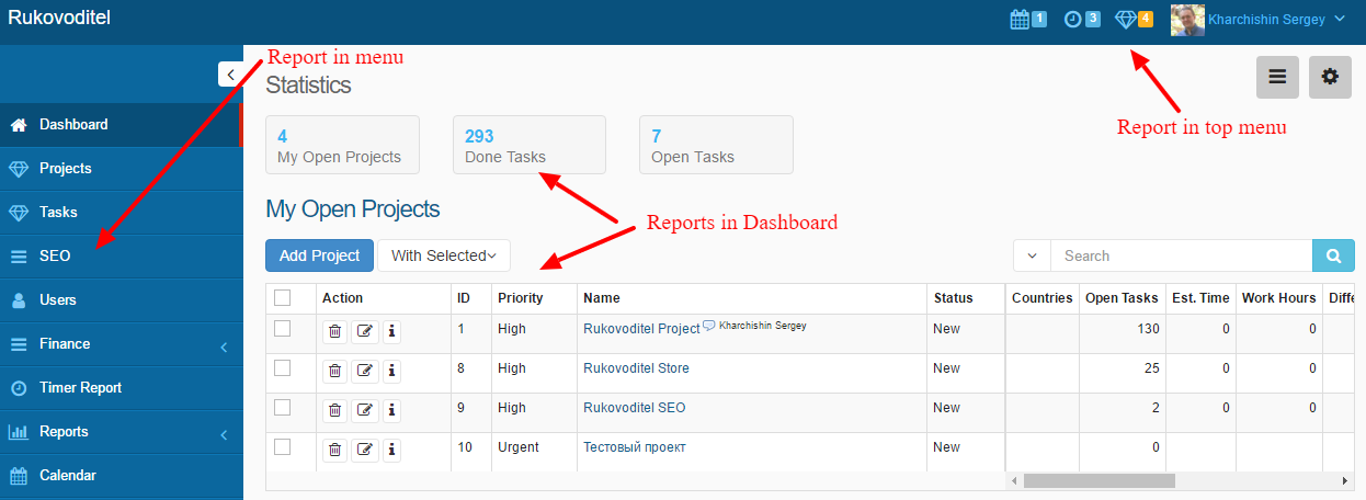 Customize the display of reports - Rukovoditel - Open Source Project Management Software