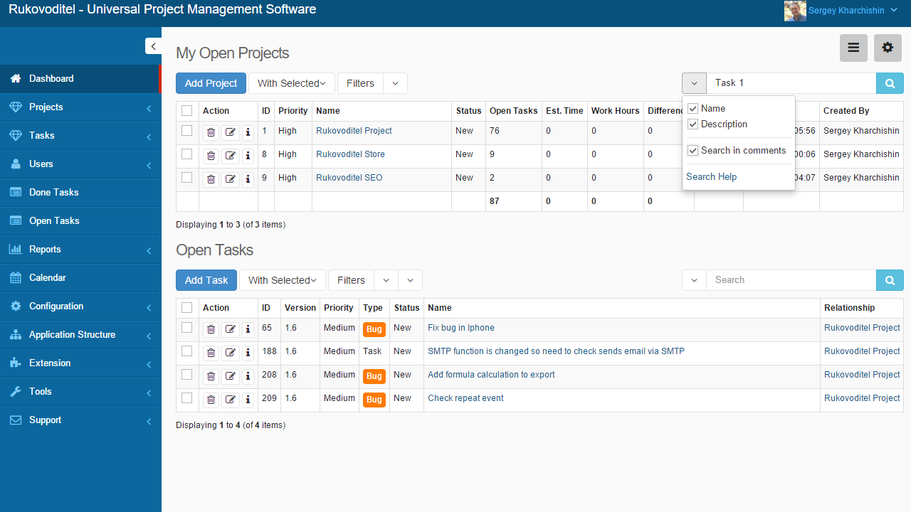 Search by fields - Rukovoditel - Open Source Project Management Software